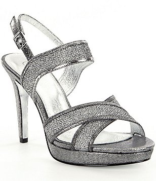 Adrianna Papell Ansel Glitter Mesh & Leather Platform Dress Sandals
