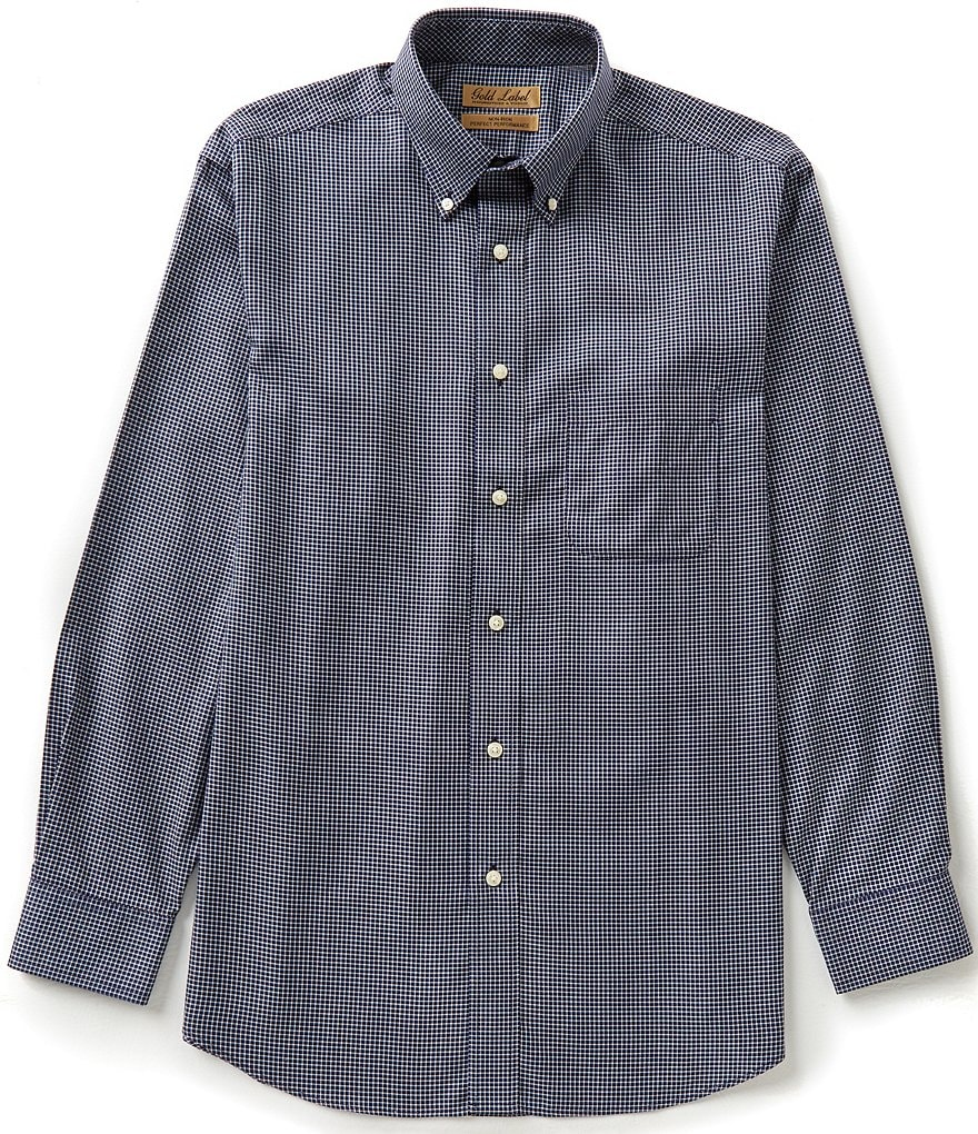 Gold Label Roundtree & Yorke Non-Iron Long Sleeve Check Woven Sportshirt