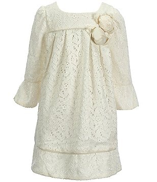 Laura Ashley London Little Girls 2T-6X Bell-Sleeve Lace Dress