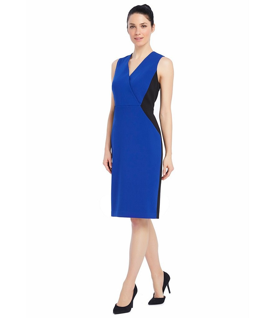Ellen Tracy Colorblock Faux Wrap Sheath Dress
