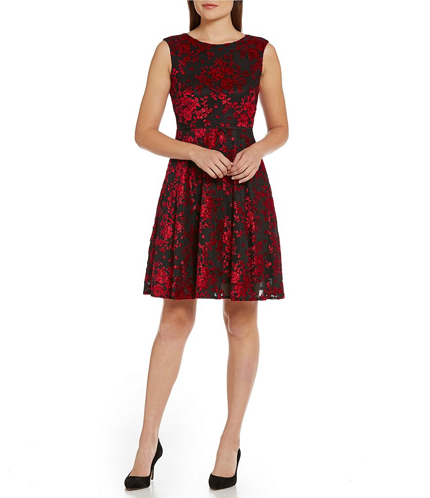 Tahari ASL Petite Velvet Burnout Floral Dress
