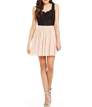 Jodi Kristopher Color Block Scalloped Neckline Lace Bodice A-line Dress