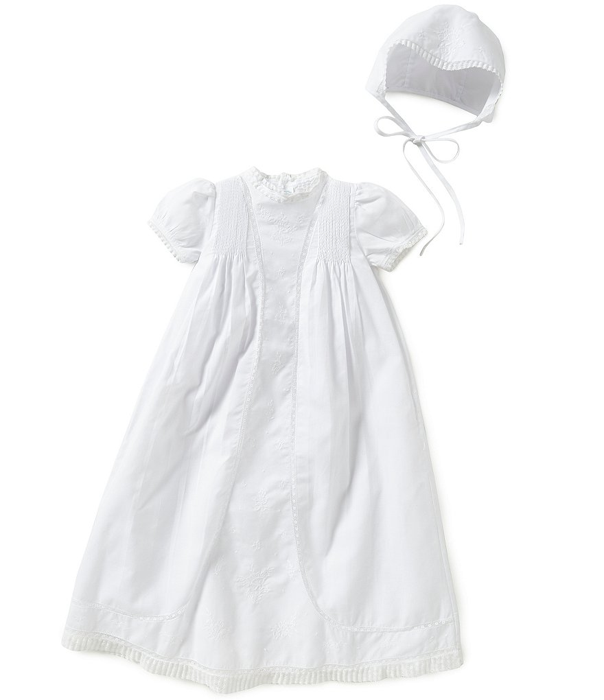 Feltman Brothers Baby Girls Newborn-3 Months Lace Detailed Christening Gown And Hat Set