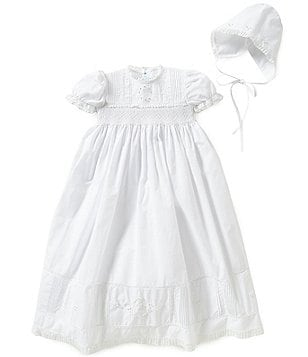 Feltman Brothers Baby Girls Newborn-6 Months Smocked Lace-Trimmed Embroidered Christening Gown and Hat Set