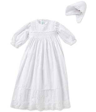 Feltman Brothers Baby Girls Newborn-12 Months Smocked Christening Gown and Hat Set
