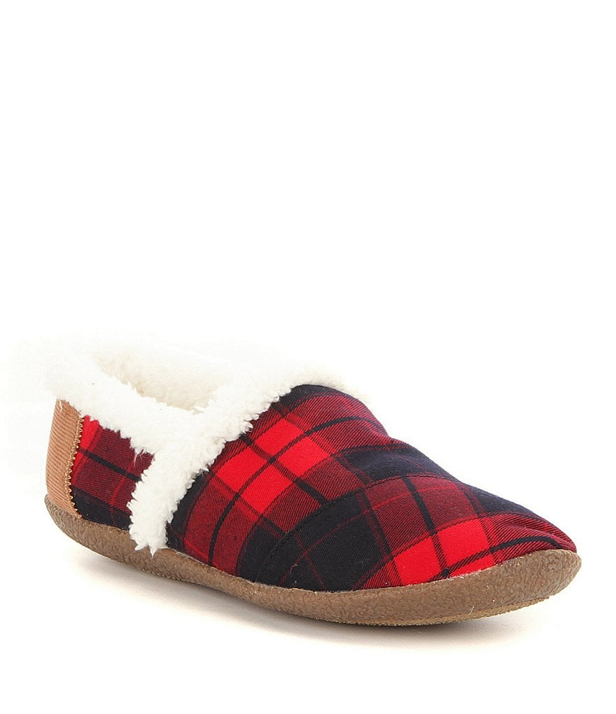 TOMS Plaid Faux-Shearling Slippers