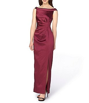 Tahari ASL Off-the-Shoulder Satin Gown