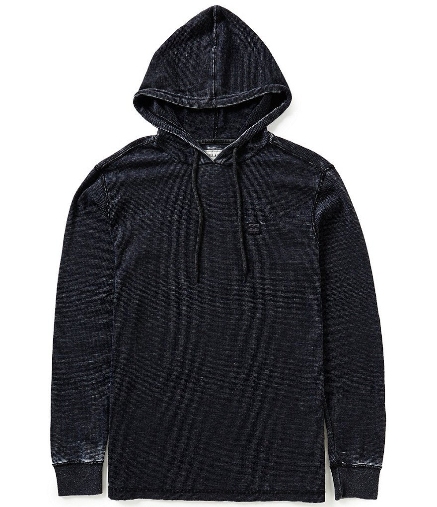 Billabong Keystone Pullover Garment-Washed Waffle-Knit Thermal Hoodie