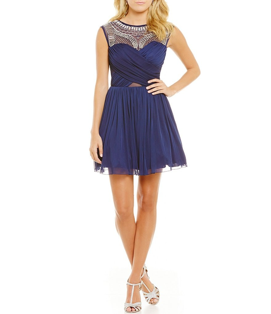 B. Darlin Beaded Yoke Wrap Bodice Skater Dress