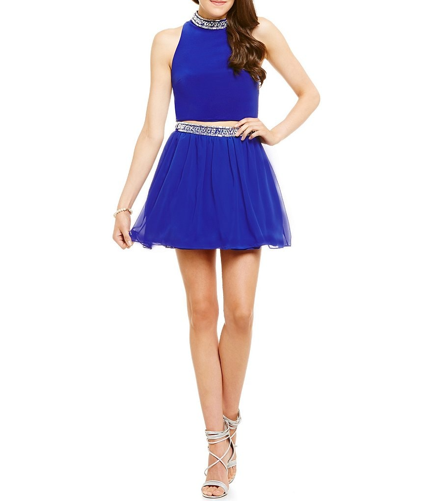 B. Darlin Crystal Trim Mock Neck Two-Piece Dress