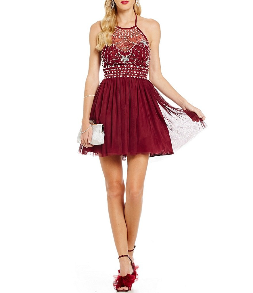 B. Darlin Tie Halter Neckline Beaded Bodice Fit-and-Flare Dress