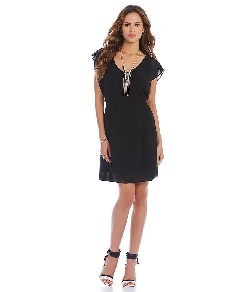 Gianni Bini Adele Flutter Sleeve Elastic Waist Dress