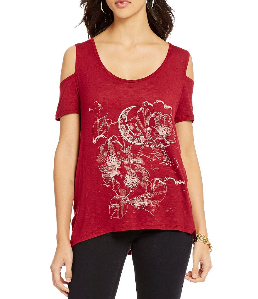 Jessica Simpson Lorani Cold Shoulder Tapestry Print Top