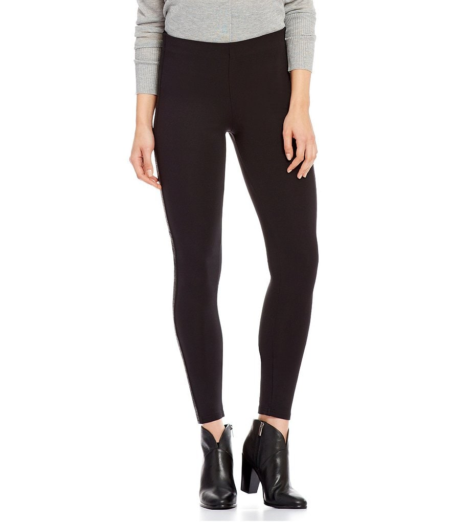HUE Metallic Tuxedo-Stripe Ponte Leggings