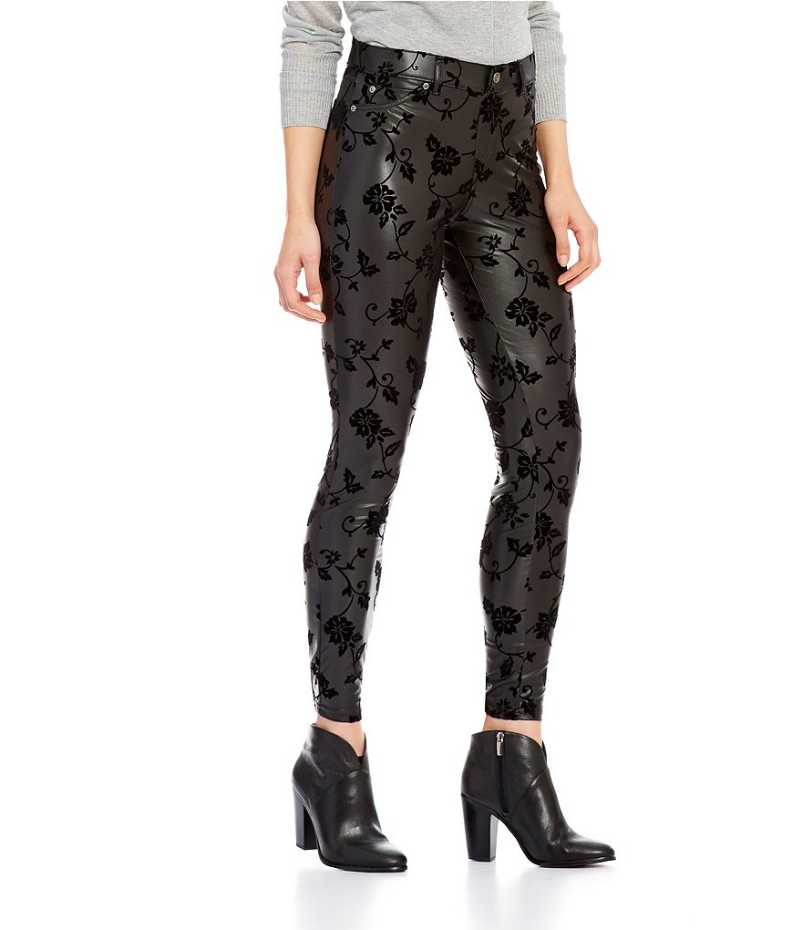 HUE Floral Flocked Faux-Leather Leggings
