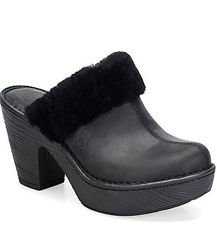 Born Prespa Shearling Trim Clogs