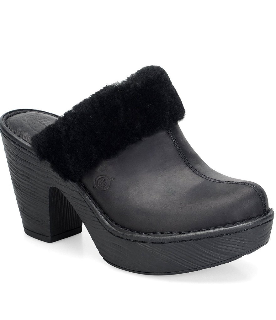 Born Prespa Faux Fur Clogs