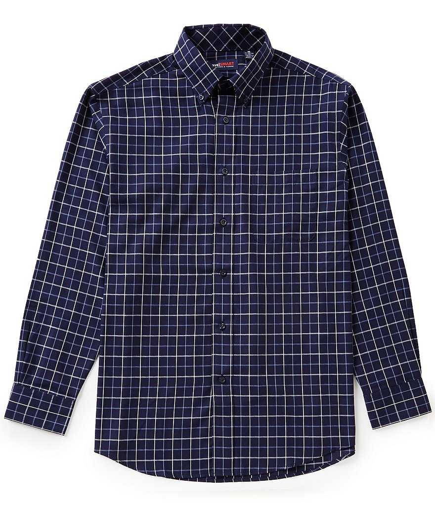Roundtree & Yorke TravelSmart Long-Sleeve Herringbone Plaid Sportshirt