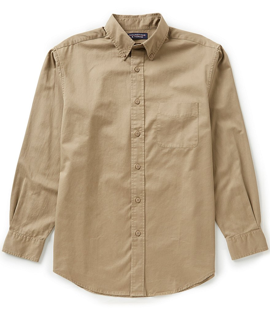 Roundtree & Yorke Long Sleeve Solid Twill Sportshirt