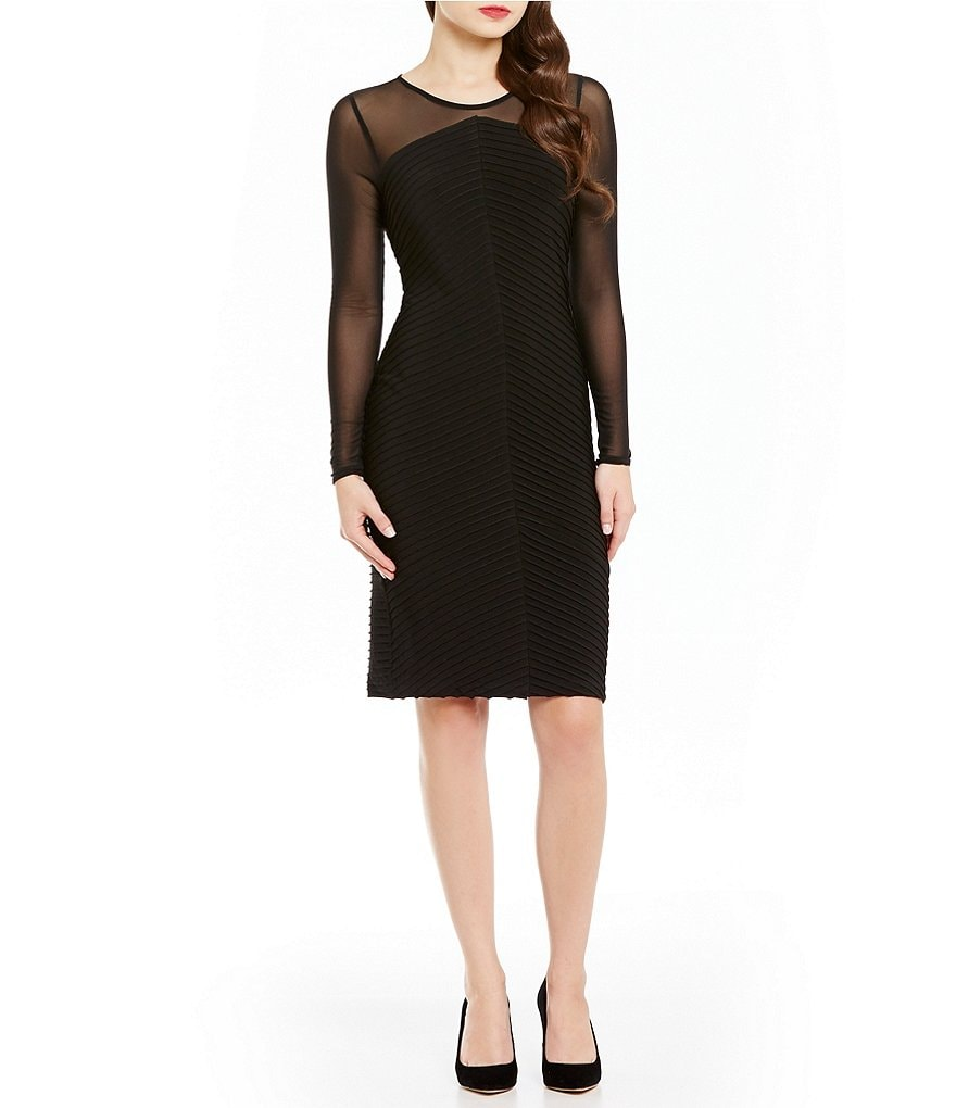 Calvin Klein Illusion Sleeve Banded Sheath Dress