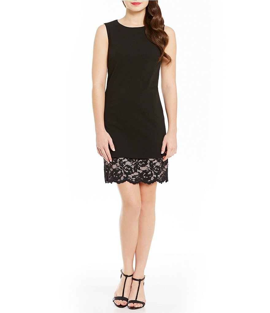 Calvin Klein A-Line Lace Hem Sleeveless Dress