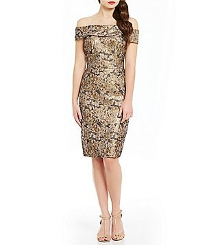 Calvin Klein Off-The-Shoulder Jacquard Sheath Dress