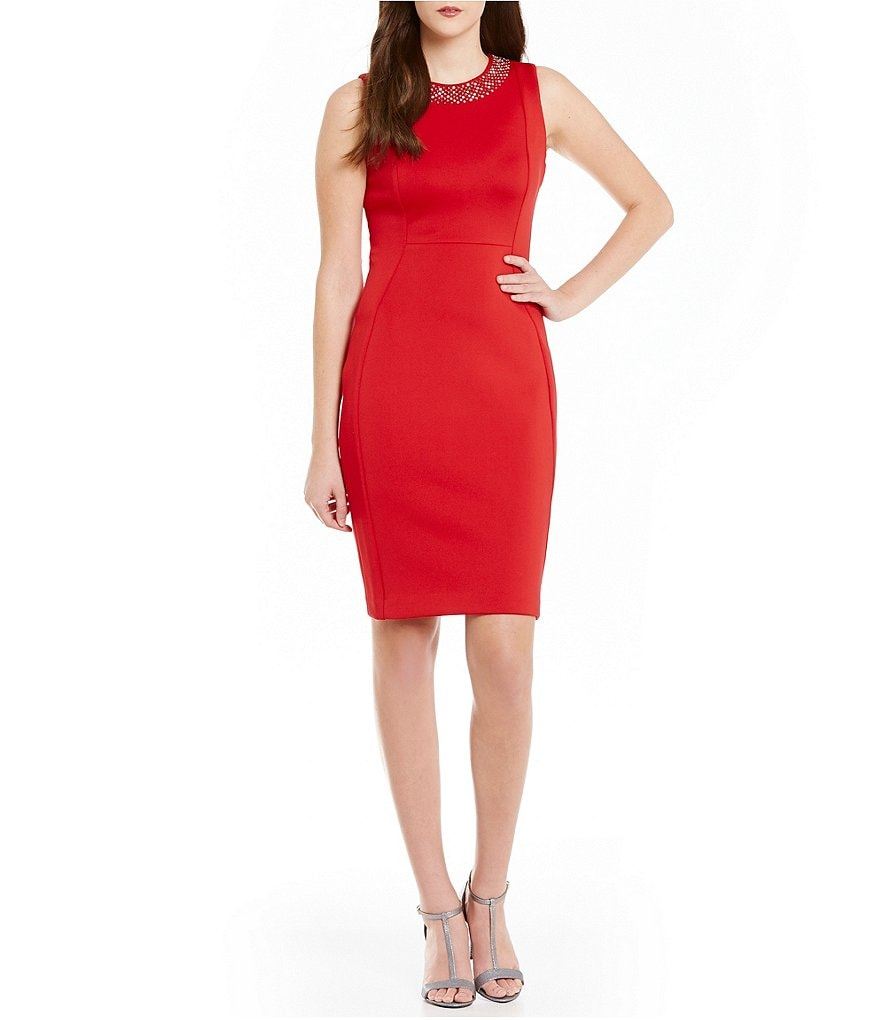 Calvin Klein Heat Stone Detail Scuba Sheath Dress