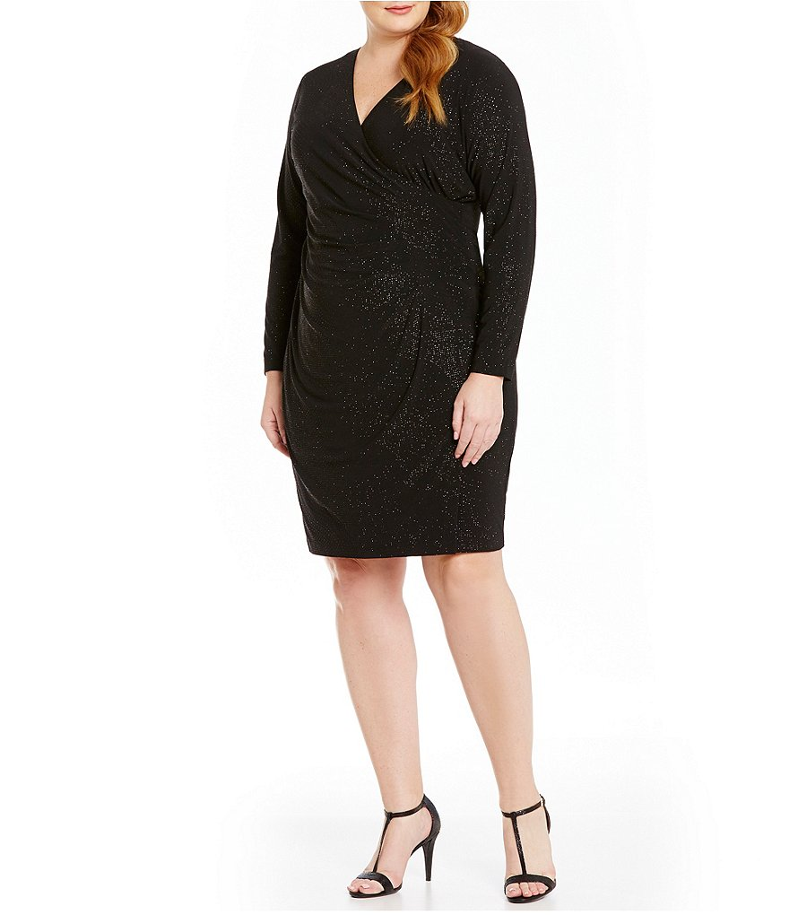 Calvin Klein Plus Faux Wrap Glitter Knit Dress