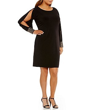 Calvin Klein Plus Beaded-Cuff Cold-Shoulder Shift Dress