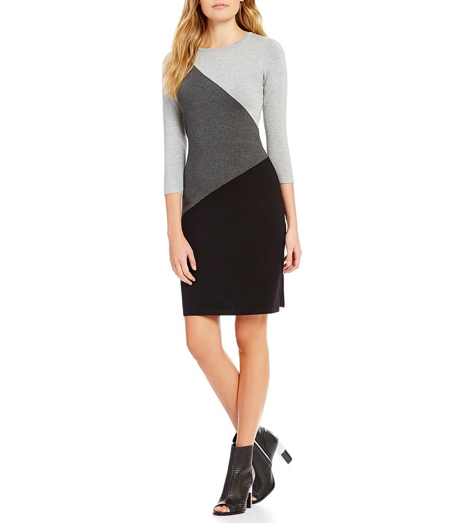 Calvin Klein Round Neck Colorblock Sweater Knit Sheath Dress