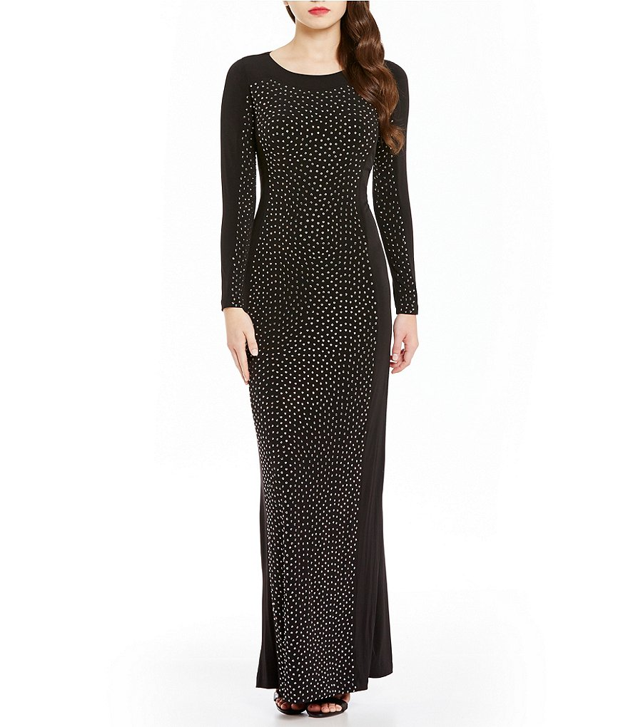 Calvin Klein Heat Stone Long Sleeve Gown