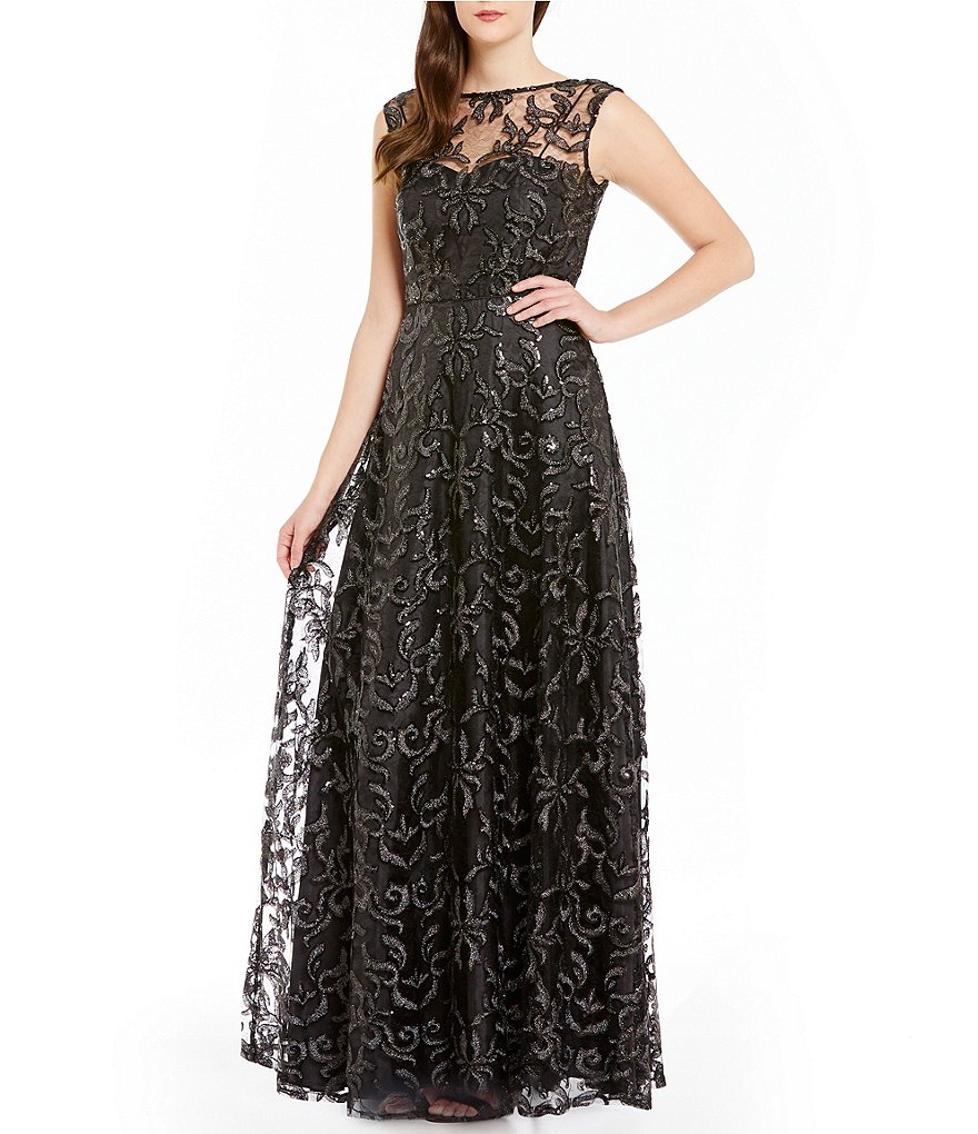 Calvin Klein Crew Neck Sleeveless Scroll-Sequin Gown