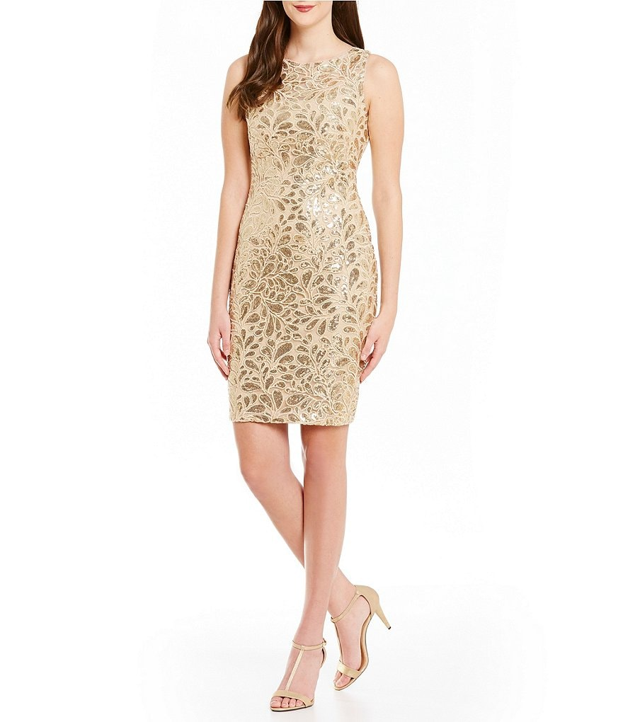 Calvin Klein Floral Sequin Sheath Dress