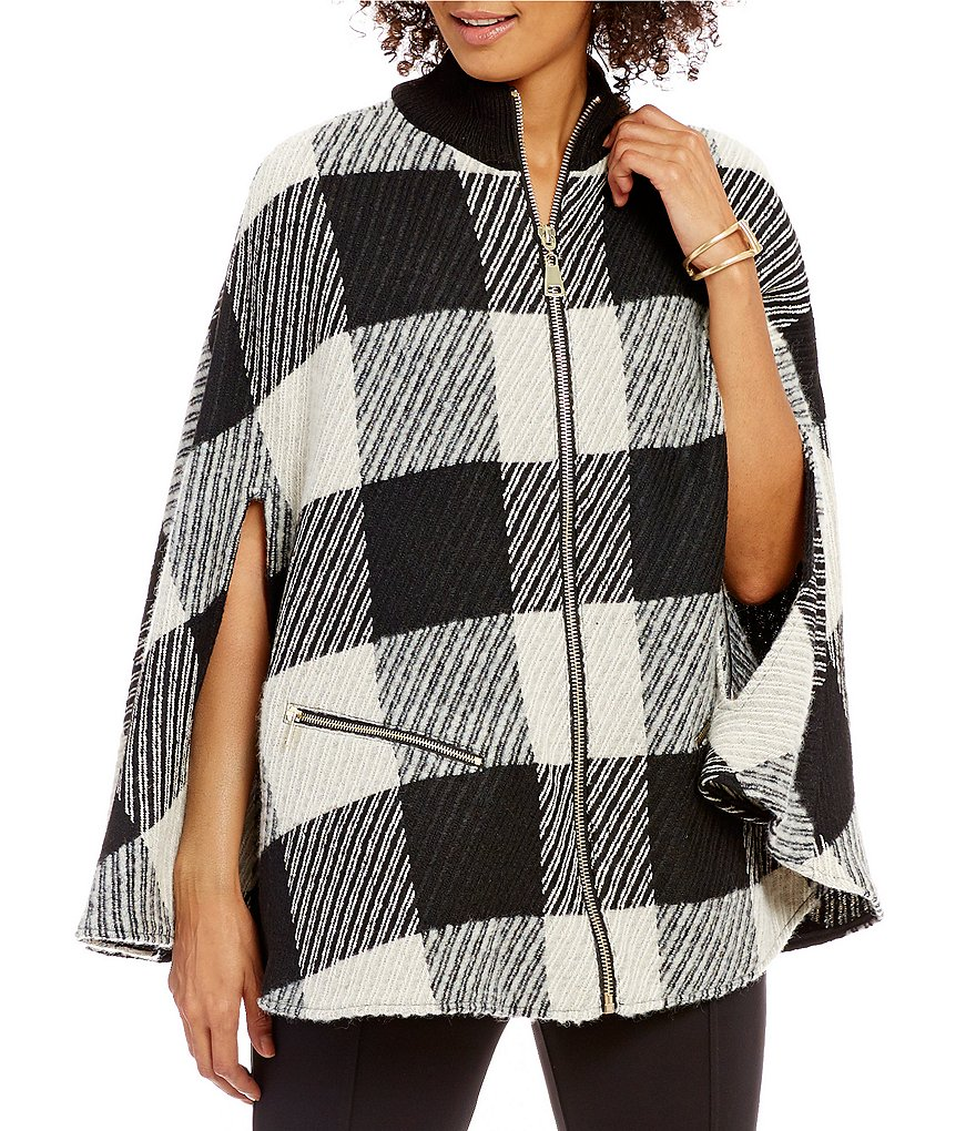 John Mark Mock Neck Zip Front Checked Knit Jersey Poncho