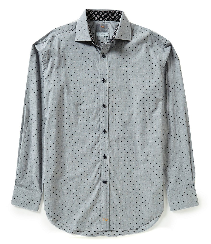 Thomas Dean Long-Sleeve Coupe Woven Printed Shirt