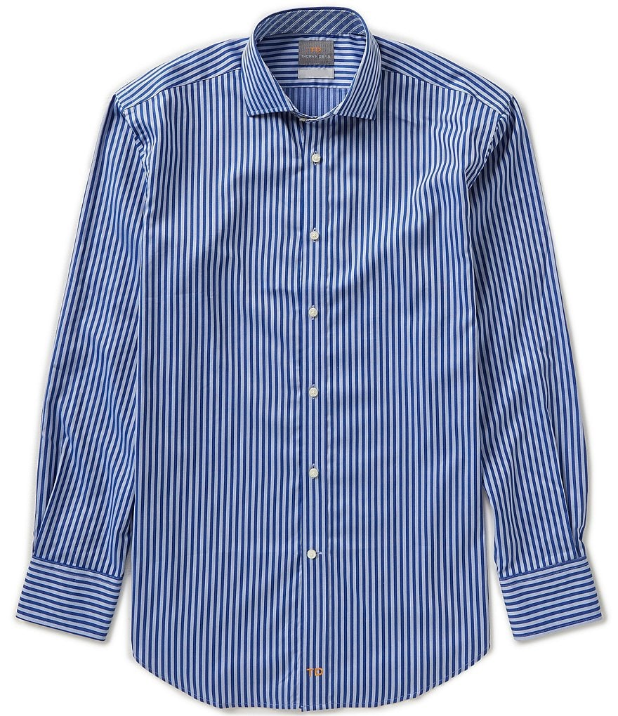 Thomas Dean Long-Sleeve Jacquard Stripe Woven Shirt