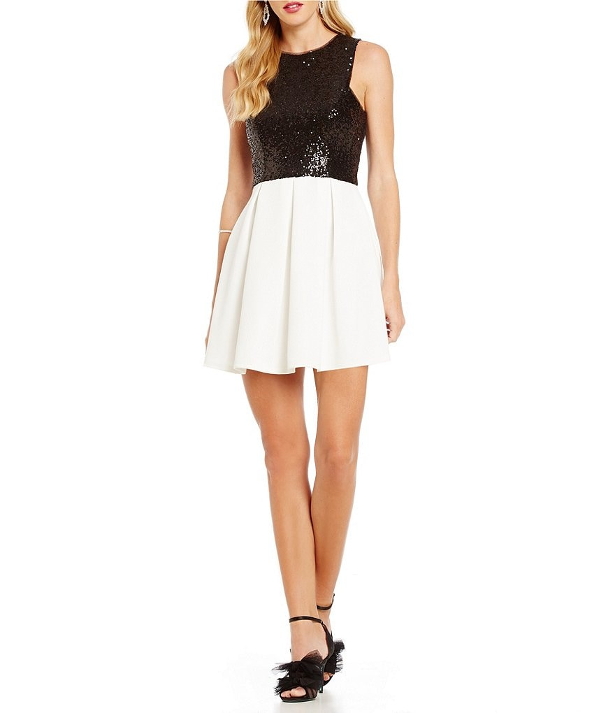 B. Darlin Sequin Tank Bodice A-line Dress