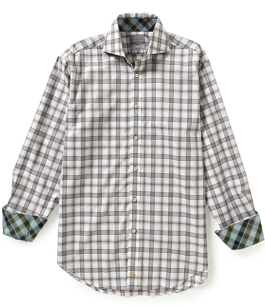 Thomas Dean Long-Sleeve Plaid Woven Shirt