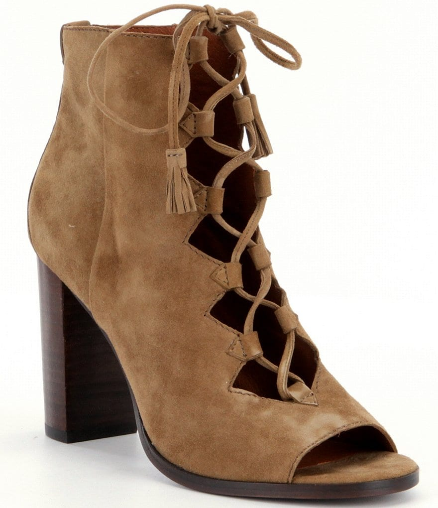 Frye Gabby Ghillie Suede Lace-Up Block Heel Booties