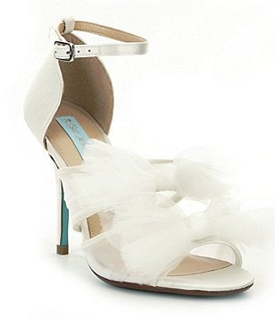 Blue by Betsey Johnson Big Satin & Mesh Tulle Bow Ankle Strap Dress Sandals