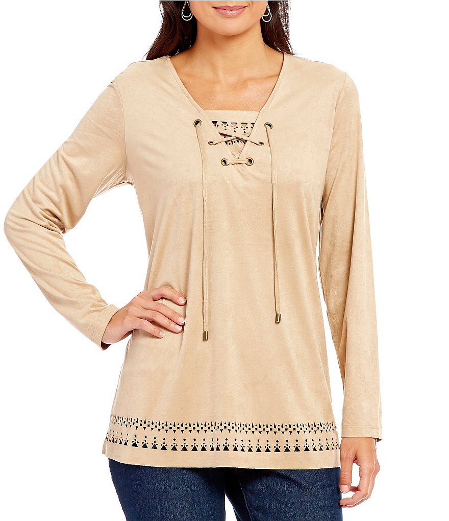 Westbound Petites Laser Cut Faux-Suede Lace-Up Top