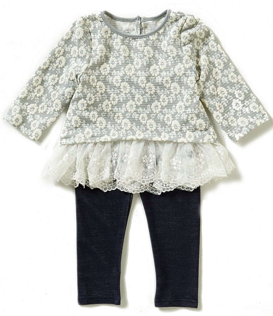 Pippa & Julie Little Girls 2T-6X Lace-Trim Top & Leggings Set