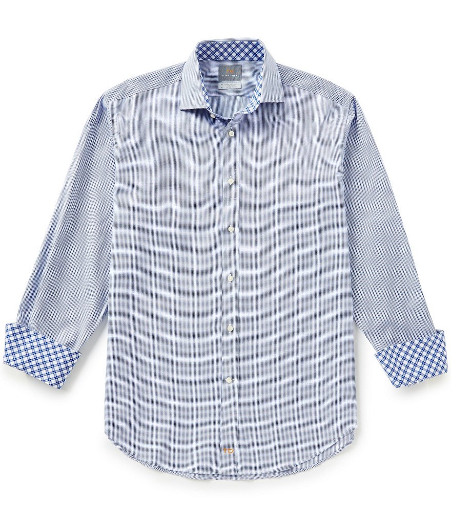 Thomas Dean Long-Sleeve Dobby Woven Shirt