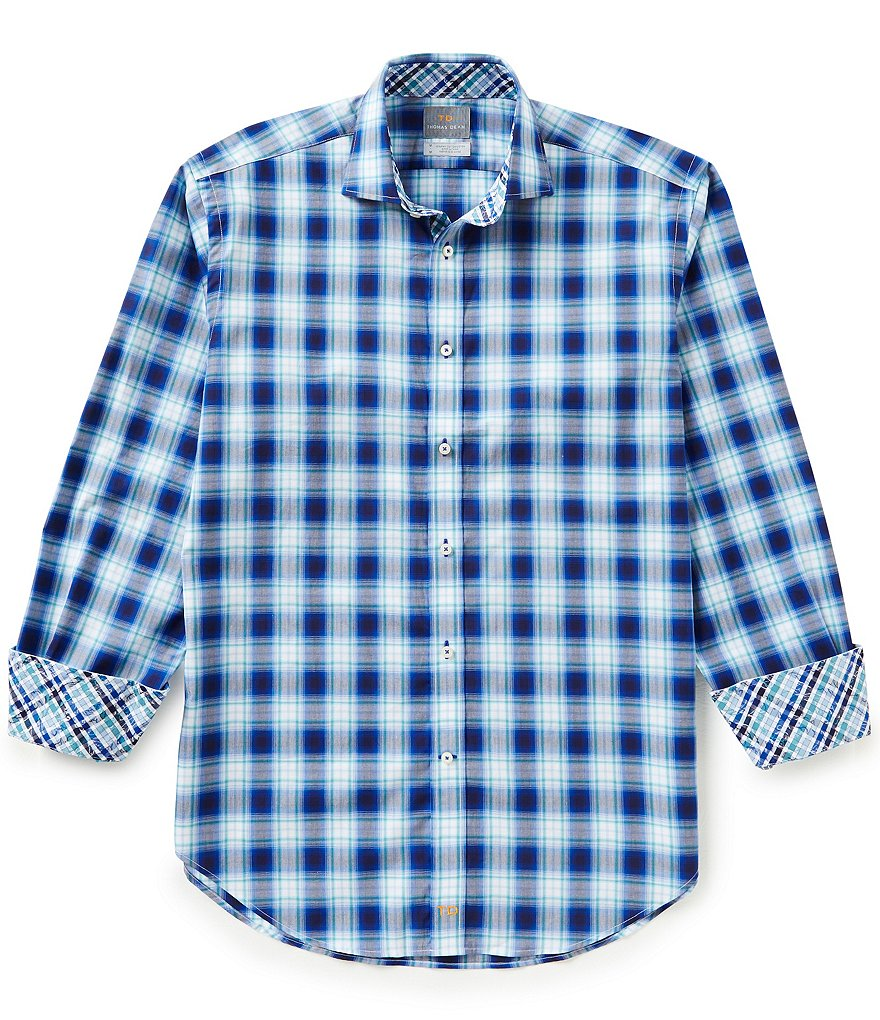 Thomas Dean Long-Sleeve Ombre Plaid Woven Shirt