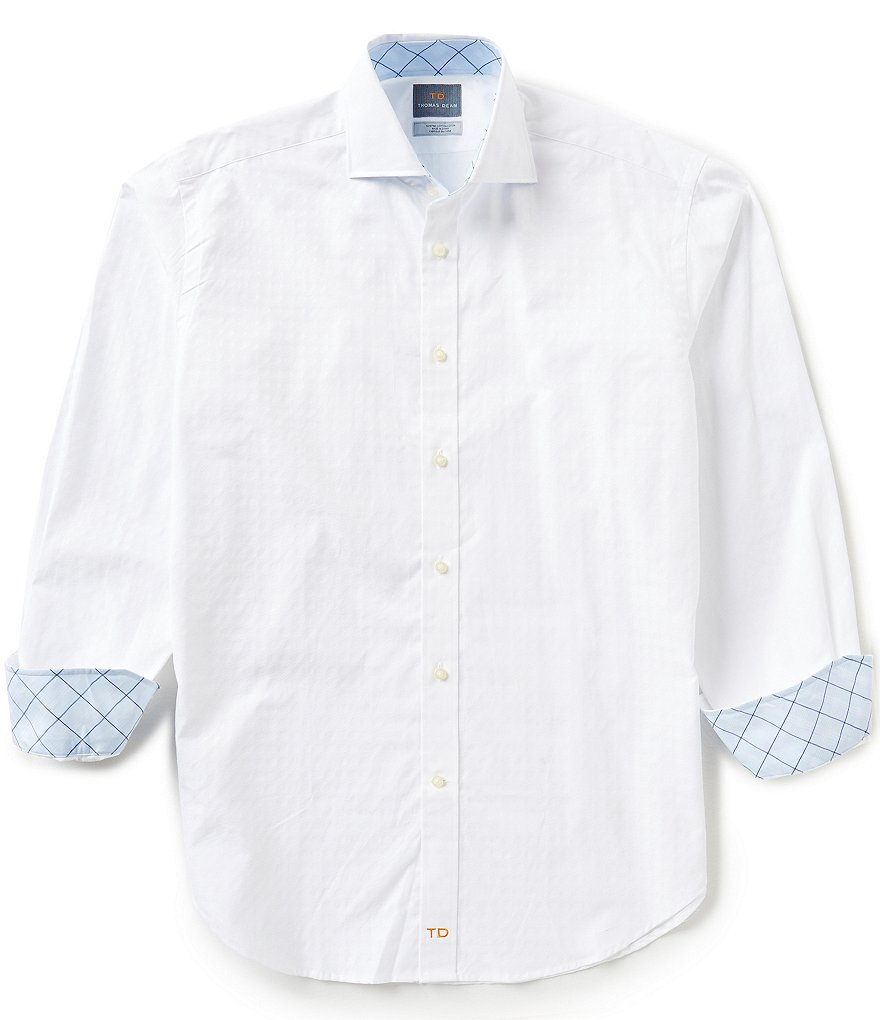 Thomas Dean Long-Sleeve Jacquard Pattern Woven Shirt
