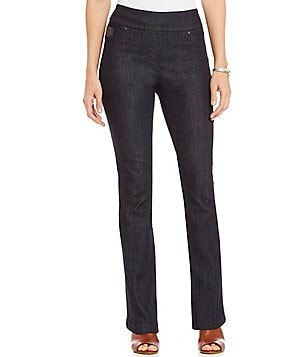Westbound the PARK AVE fit Slim Leg Faux-Leather Detail Pant