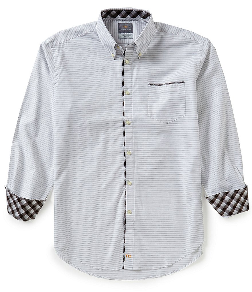 Thomas Dean Long-Sleeve Stripe Woven Shirt