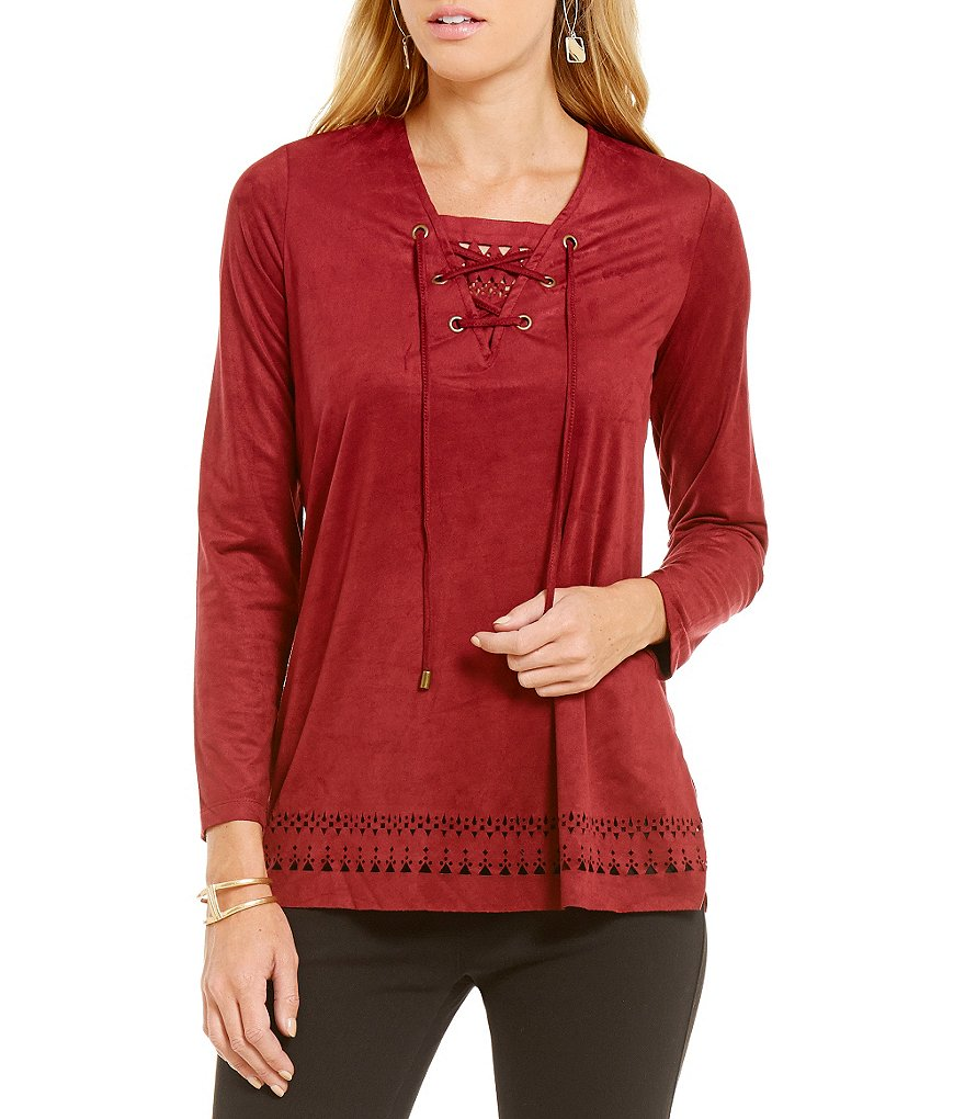 Westbound Laser Cut Long Sleeve Lace-Up Faux-Suede V-Neck Top