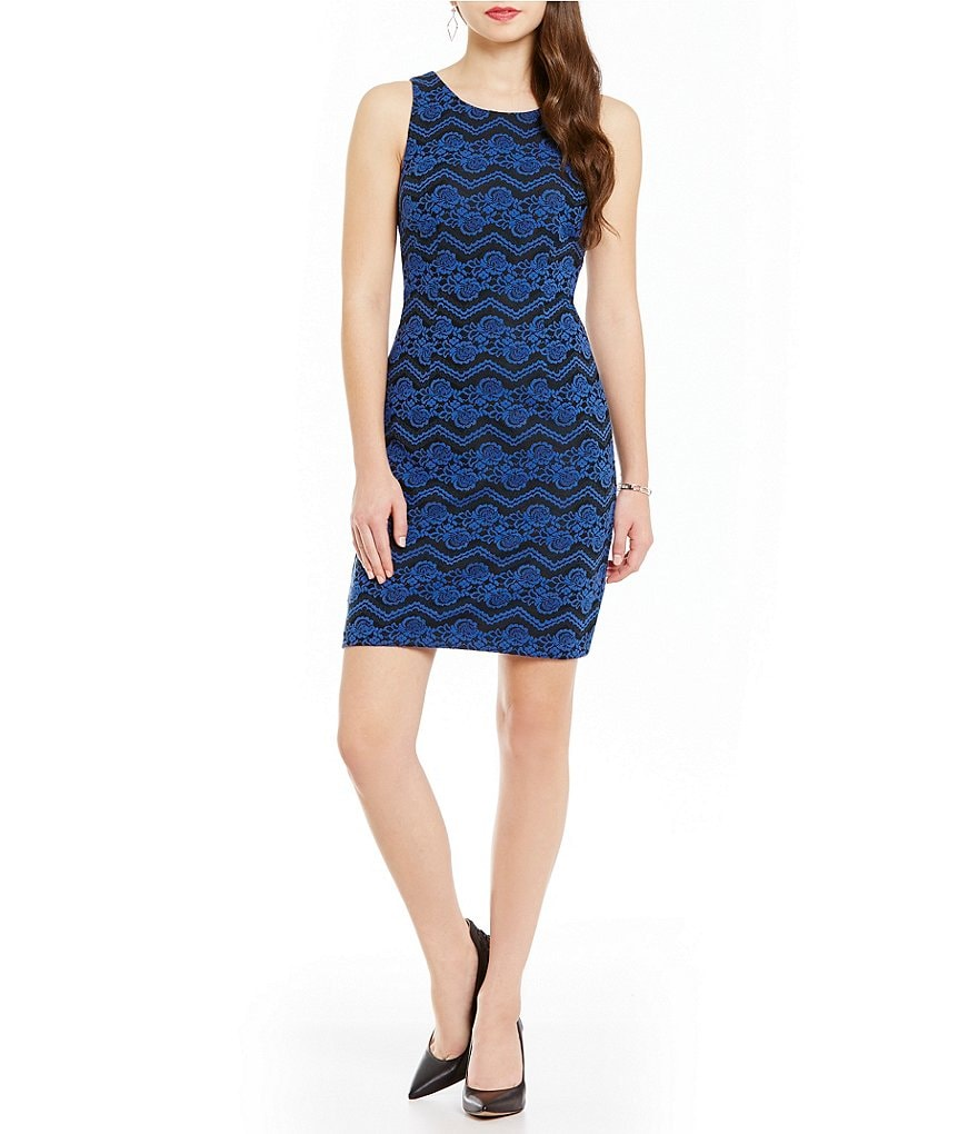 Jessica Simpson Bonded Lace Sheath Dress