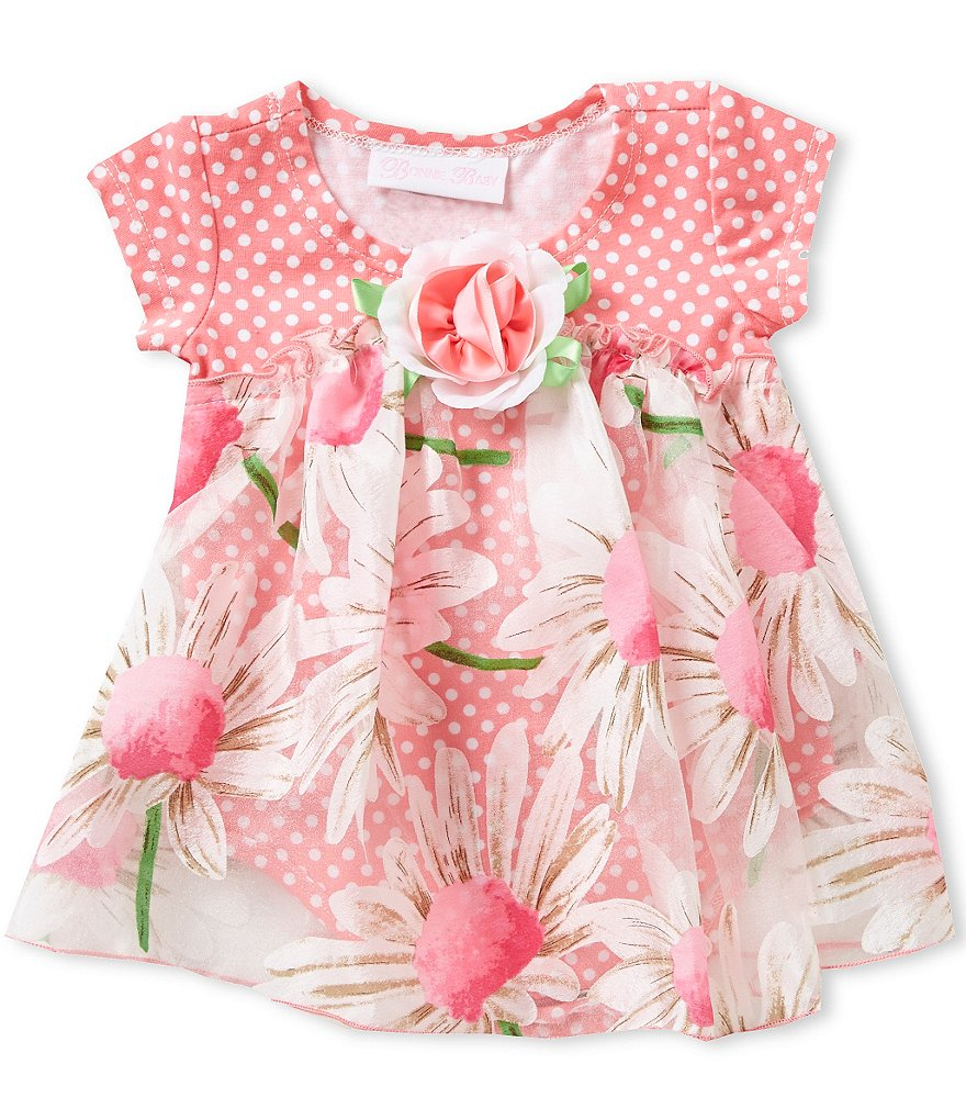 Bonnie Baby Girls Newborn-24 Months Dotted/Floral Bubble Dress